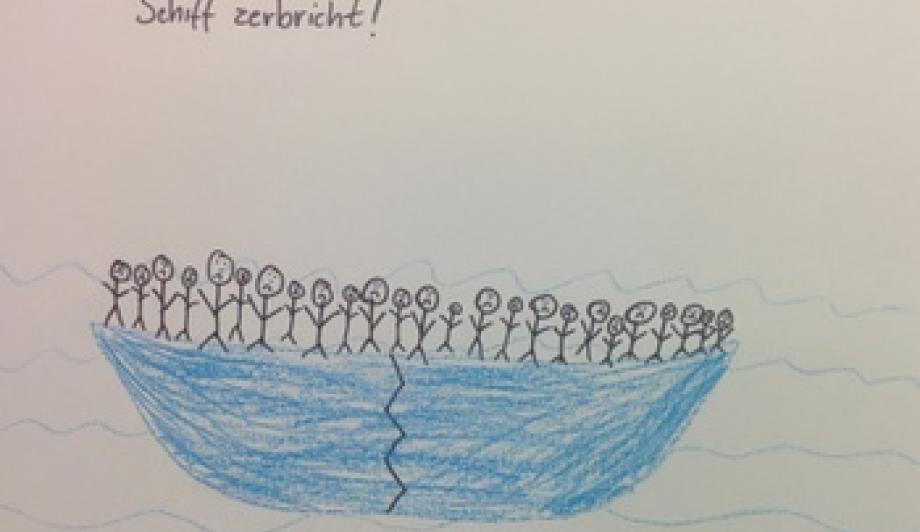 """""""Flüchtlinge auf Schiff, Schiff zerbricht"""" steht auf diesem Bild."""
