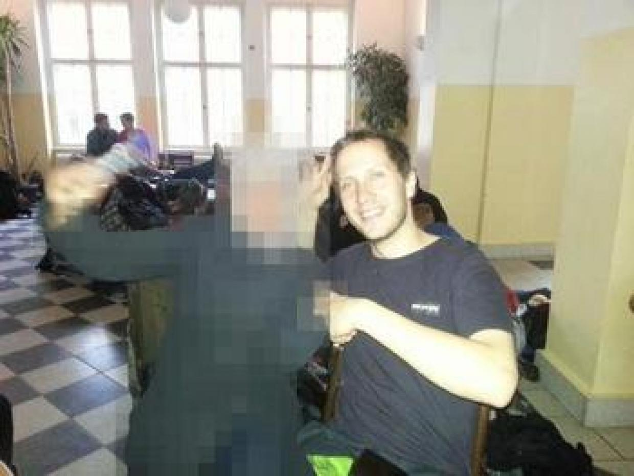 Jihad from Gaza (pixelated for her security) and Yair from Israel