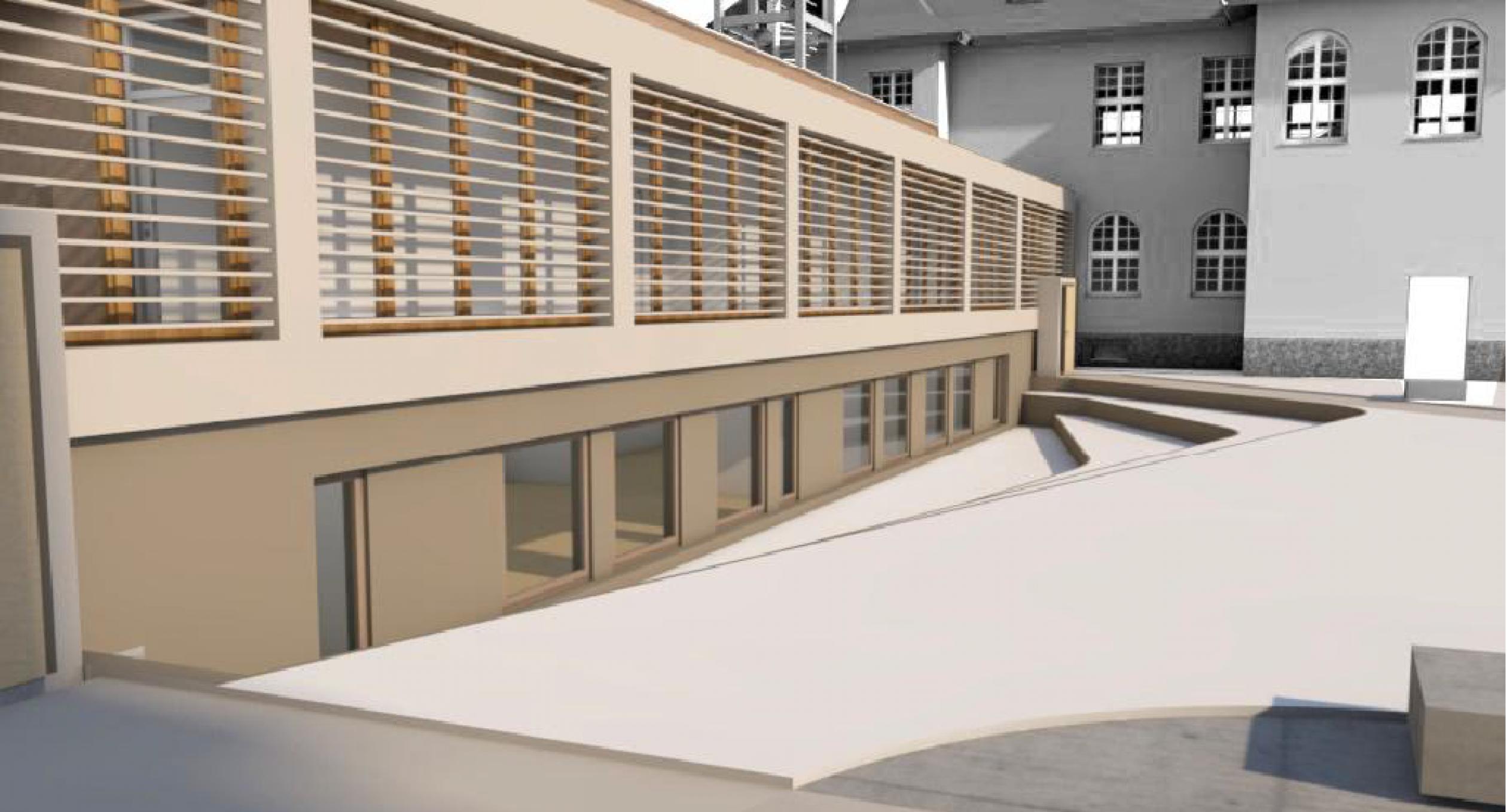 Hier im Entwurf der Neubau aus der Nähe betrachtet. Im Souterrain entstehen variable Seminarräume.