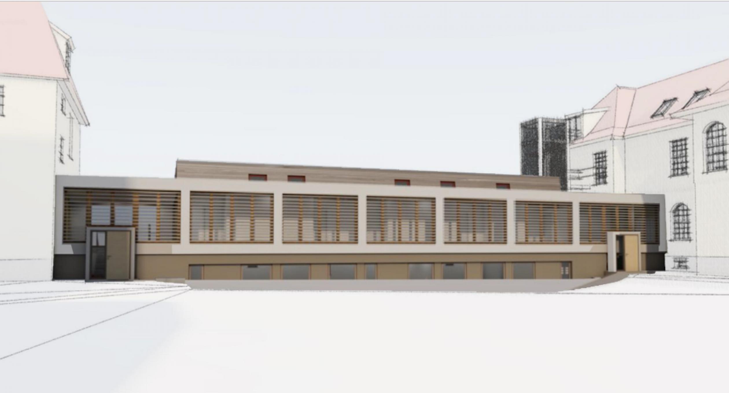 Der Entwurf zeigt den geplanten Durchgang mit Seminarräumen aus der Sicht vom Innenhof nach Westen.