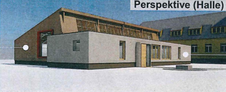 Entwurf des Hallenneubaus vom Innenhof aus gesehen