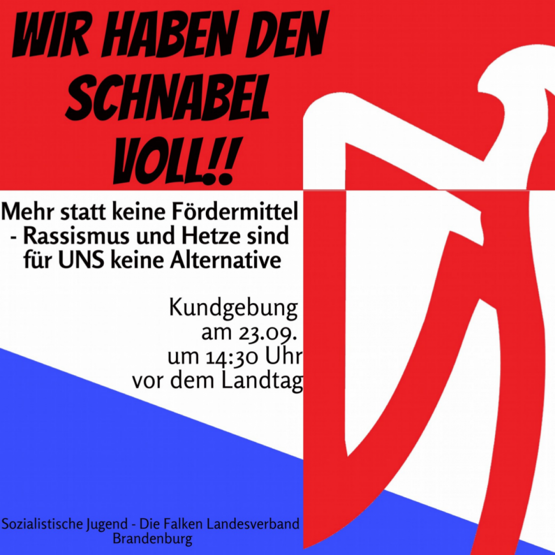 """""""Wir haben den Schnabel voll!"""" Kundgebung am 23.9.2020 um 14:30 Uhr vor dem Brandenburger Landtag"""